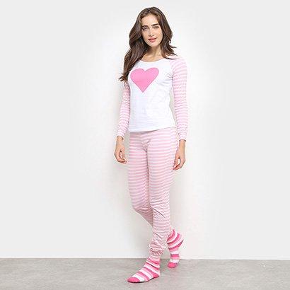 Conjunto Pijama Flora Zuu Longo Listrado Feminino