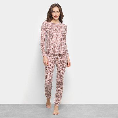 Pijama Flora Zuu Longo Estampado 2 Peças Feminino