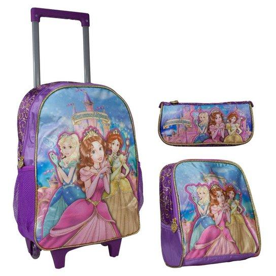 85ddf7135 Kit Escolar Princesa Mágicas Roxa Mochilete Lancheira e Estojo - Lilás