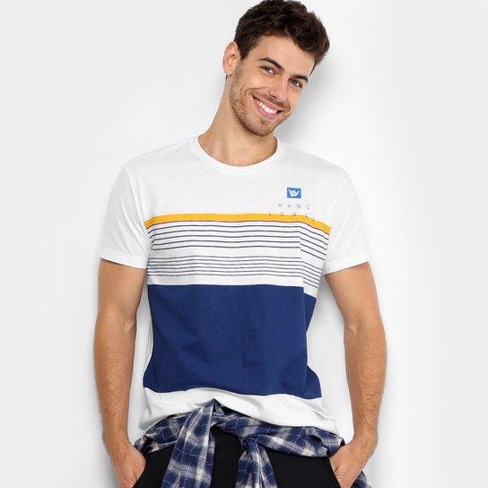 d30f64a490 Camiseta Hang Loose Silk Striped Masculina - Branco+Marinho