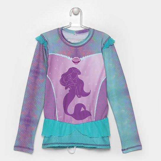 Camiseta Infantil Uv.Line Acqua Ariel Manga Longa Feminina - Compre ... e9bda57404996