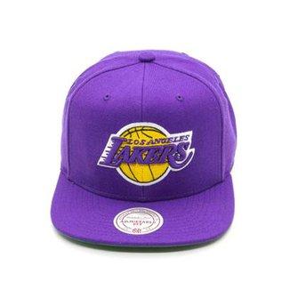 bbc54047af48c Boné Mitchell   Ness Lã Solid NBA La Lakers Snapback