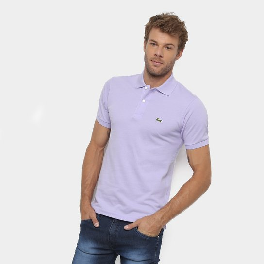 a6236826aebc8 Camisa Polo Lacoste Original Fit Masculina - Lilás - Compre Agora ...