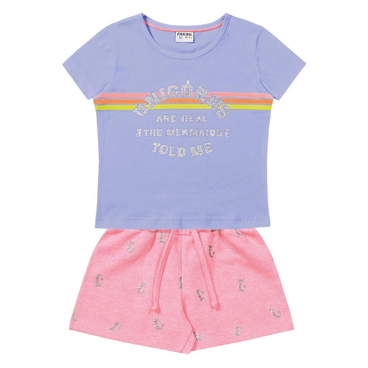 Conjunto Bebê Fakini Blusa Malha e Short Moletinho Unicorns Feminino