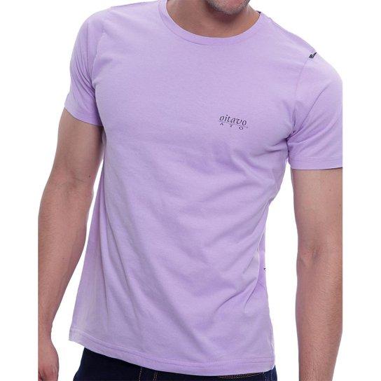 Camiseta Básica Oitavo Ato Estampa Frontal e nas Costas - Lilás ... 1b5ef3723d