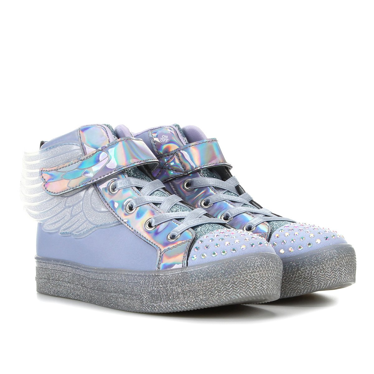 Tênis Infantil Cano Alto Skechers Shuffle Brights Sparkle Wings Feminino