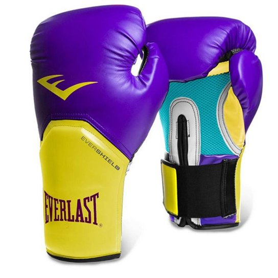 Luva Boxe Elite Pro Style Roxo Amarelo Everlast - 12Oz - Roxo+Amarelo 91c59ab9add5b