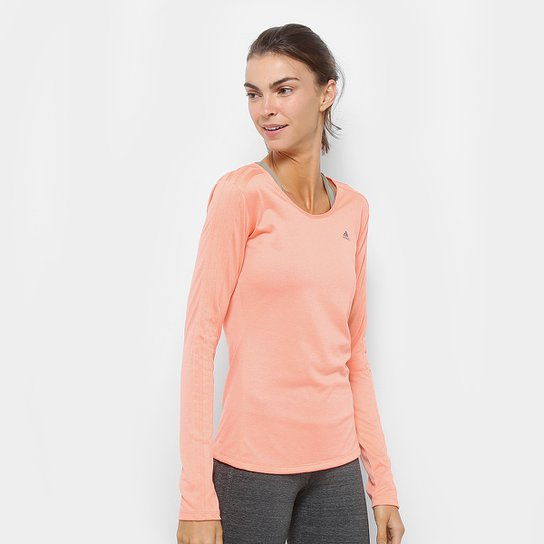 1ced7cd5089 Camiseta Adidas Manga Longa 3S Ls Feminina - Coral - Compre Agora ...