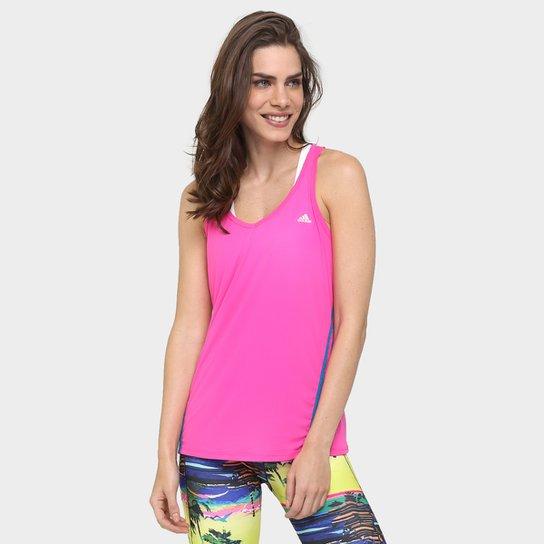 Camiseta Regata Adidas Ess Clima 3S LW Feminina - Pink e Azul ... ae93b5edbb8b3