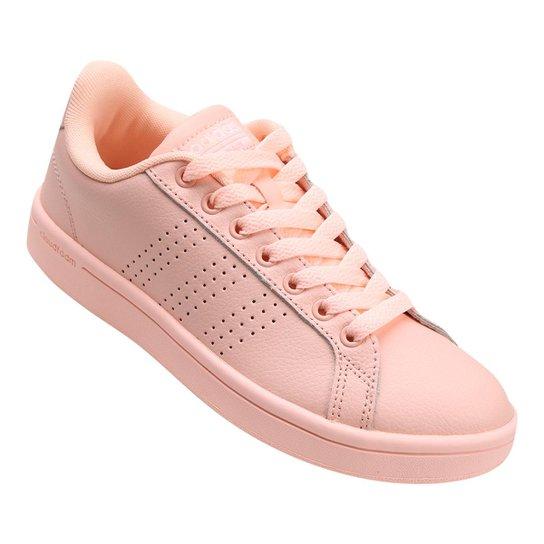 f55a57d9f2 Tênis Couro Adidas Cf Advantage Clean Feminino - Coral