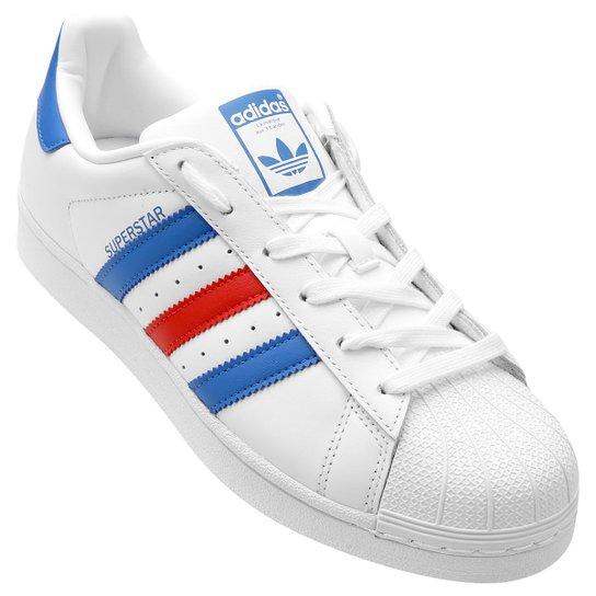 874107029d Tênis Couro Adidas Superstar Foundation - Branco e Azul