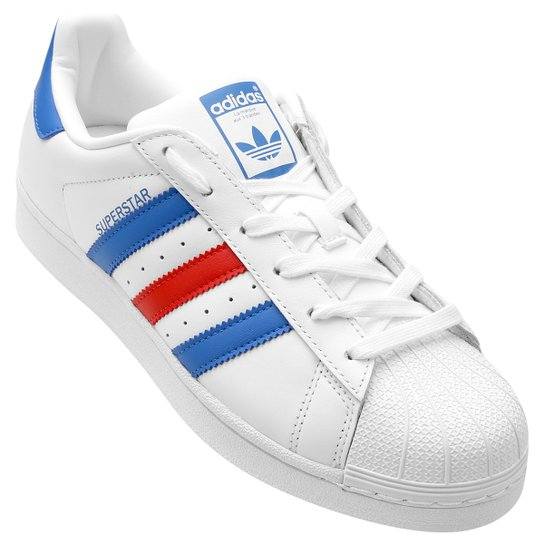 bff028c7c Tênis Couro Adidas Superstar Foundation - Branco+Azul