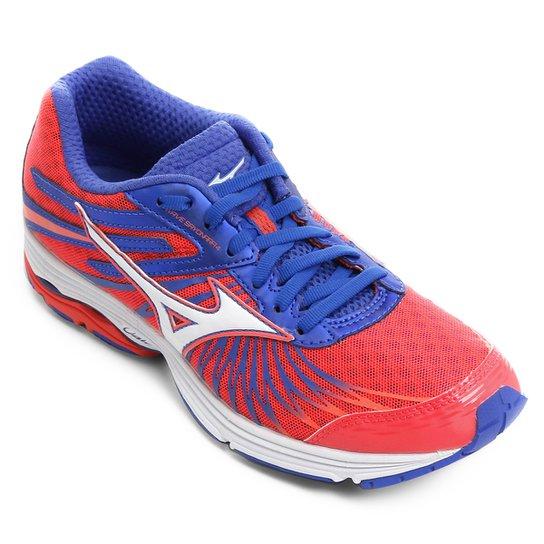 c0f6f08acc Tênis Mizuno Wave Sayonara 4 Feminino - Vermelho Claro e Azul ...