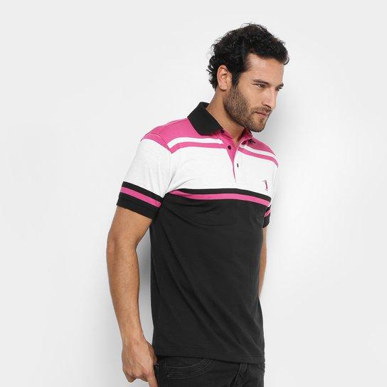 Camisa Polo Aleatory Malha Fio Tinto Masculina - Rosa Escuro+Branco 5519b1de39d6d