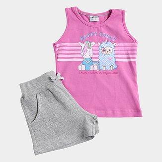5473347da8bb3 Conjunto Infantil Fakini Kids Happy Today Feminino