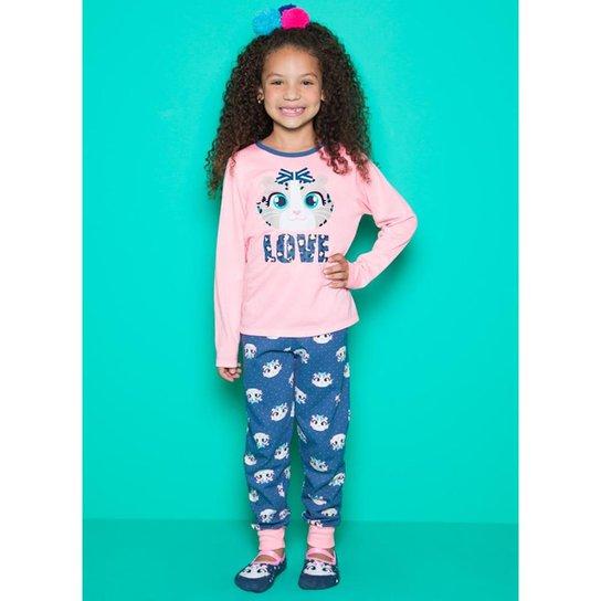 5a41a14fe6b510 Pijama Infantil Puket Manga Longa Oncinha Feminina - Rosa e Azul