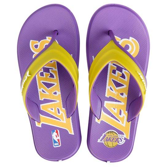e2b62461c4cc4 Chinelo Rider Infantil NBA Los Angeles Lakers - Roxo e Amarelo ...