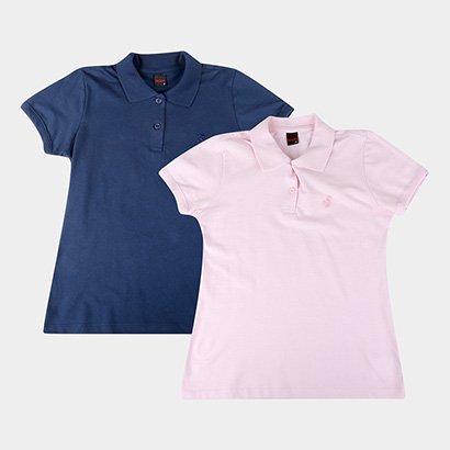 Kit 2 Camisas Polo Básicos Lisa Feminina