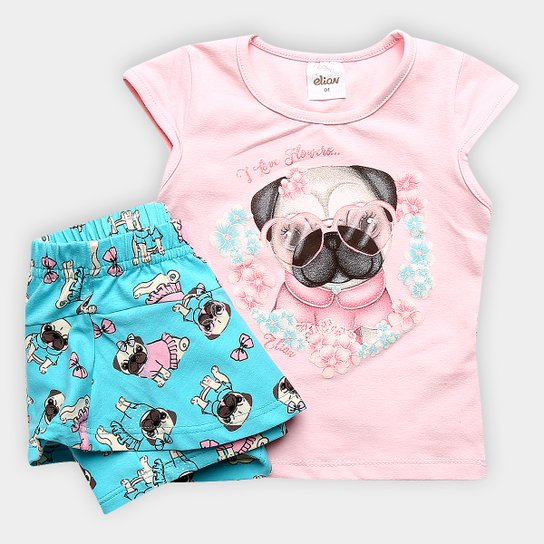 c091ea89cf Conjunto Infantil Elian Pug Flowers Feminino - Rosa e Azul - Compre ...