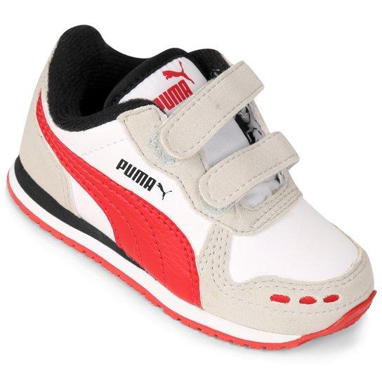 5b82b131c2b Tênis Infantil Puma Cabana Racer SL V - Branco+Vermelho