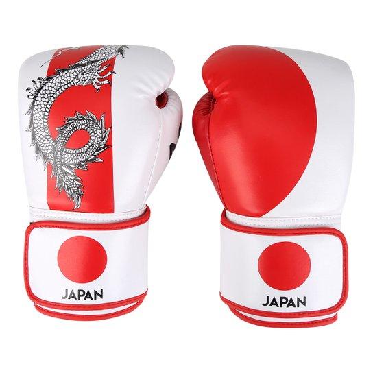 30032382e Luva de Boxe   Muay Thai Naja Japão 10 Oz - Branco+Vermelho