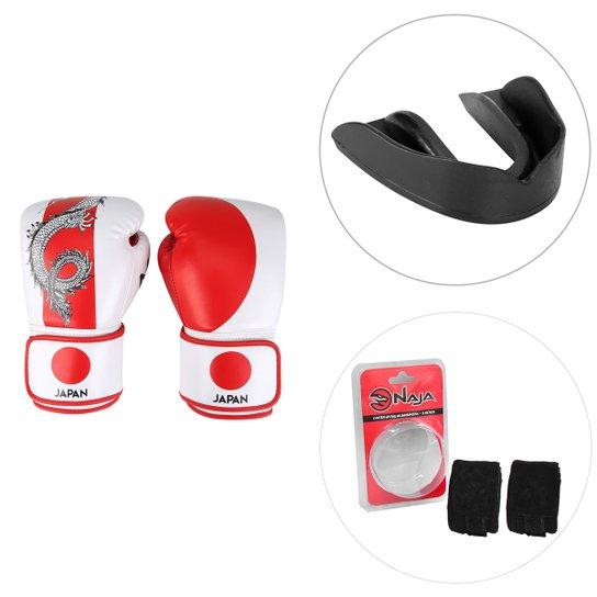 fee2434ee Kit Luva de Boxe   Muay Thai Naja Japão 14 Oz + Protetor Bucal + Bandagem