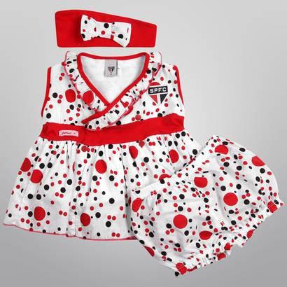 Vestido São Paulo Bolinhas c/ Tiara Infantil