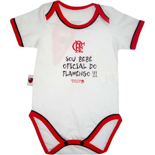 Body Bebê Oficial Meia Malha Unissex Flamengo Reve Dor - M - Branco+Vermelho 8289b100e187c