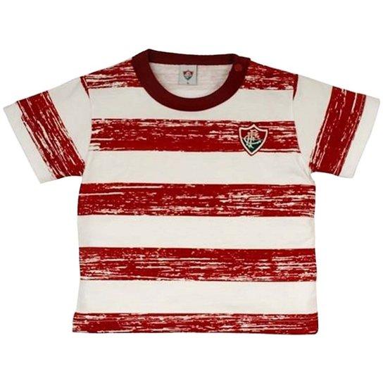 Camiseta List. Craquelada Meia Malha Menino Fluminense Reve Dor - M - Branco +Vermelho fcacd59a8ba4b