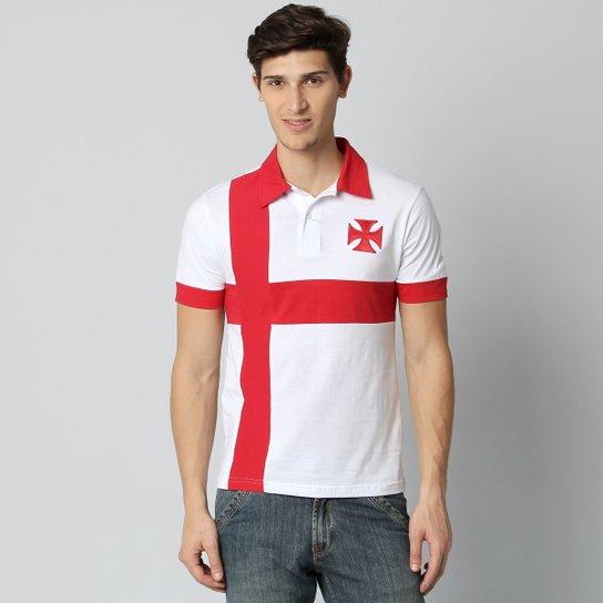 297a166f77274 Camisa Polo Vasco Cruz de Malta - Branco+Vermelho