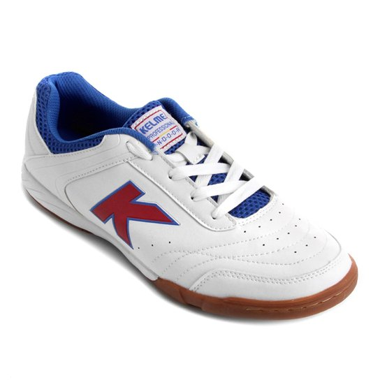 Chuteira Futsal Kelme Precision Trn - Branco e Vermelho - Compre ... 9587ae195cc4d