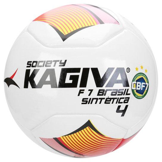 9ae51d2a5 Bola Kagiva F7 Brasil Sintética Nº 4 Society - Branco+Vermelho