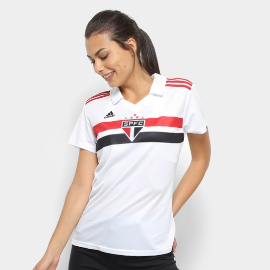 fed08b1fe Camisa São Paulo I 2018 s n° Torcedor Adidas Feminina - Branco+Vermelho
