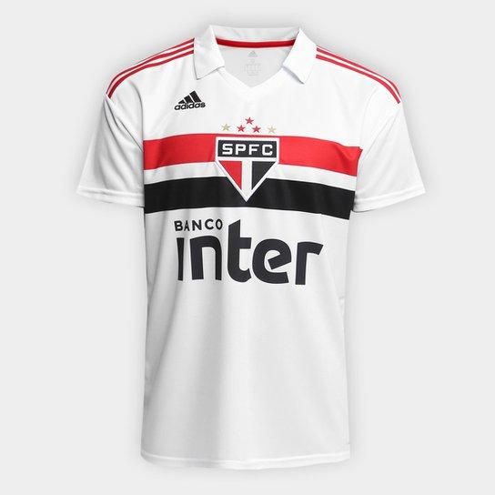 Camisa São Paulo I 2018 s n° Torcedor Adidas Masculina - Branco+Vermelho 3d202114053c8