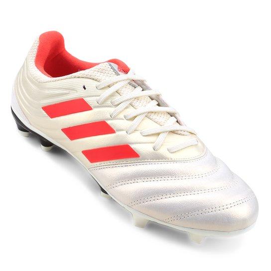 Chuteira Campo Adidas Copa 19 3 FG - Branco e Vermelho - Compre ... dd32080450837