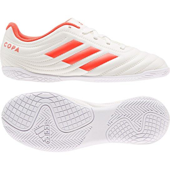 Chuteira Futsal Infantil Adidas Copa 19 4 IN - Branco e Vermelho ... 91addb46aac2f
