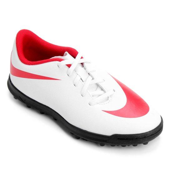 Chuteira Society Infantil Nike Bravata 2 TF - Branco e Vermelho ... 4206a8676479d