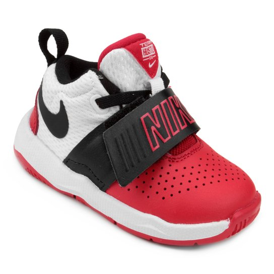 0f6bfe4fd7 Tênis Infantil Couro Nike Team Hustle D Masculino - Branco+Vermelho ...