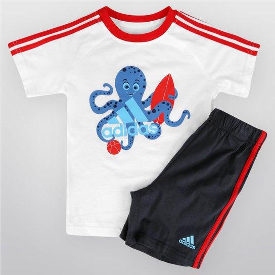 8b05a91d8ab Conjunto Adidas Sum Set Infantil - Branco+Vermelho