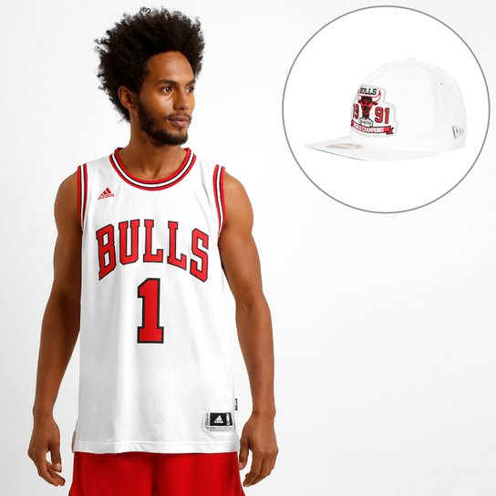 e878e7410b026 Kit NBA Camiseta Regata Adidas Swingman Chicago Bulls - Rose + Boné New Era  950 Chicago