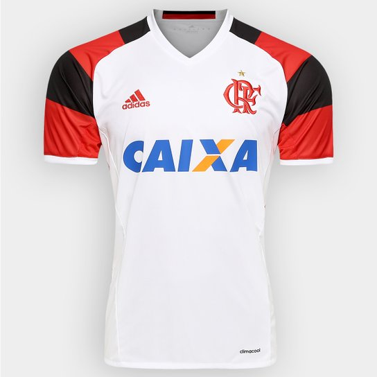 Camisa Flamengo II 16 17 s nº Torcedor Adidas Masculina - Branco+Vermelho b402c66afecbc