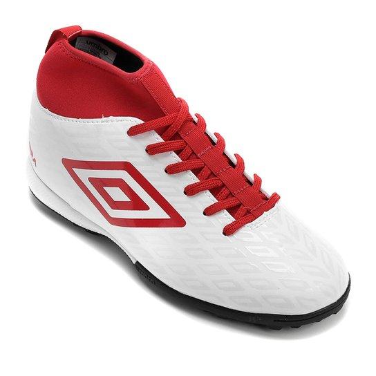 b698326a62419 Chuteira Society Umbro Calibra - Branco e Vermelho | Netshoes