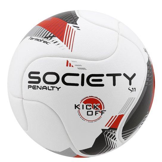 Bola Futebol Penalty S11 R1 Kick Off 5 Society - Branco+Vermelho 2adb557841f5a