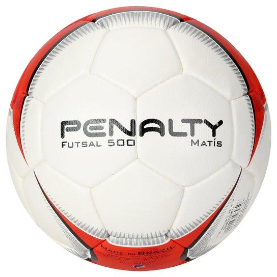 Bola Futebol Penalty Matis 500 5 Futsal - Branco+Vermelho b9c0af1c2589f