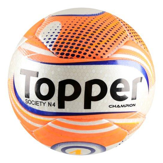 Bola Futebol Society Topper Champion N4 - Branco+Laranja ca8bc63cf66f6