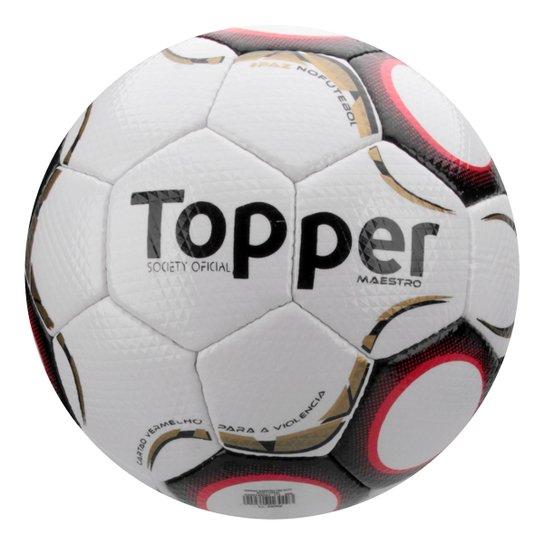 Bola Futebol Society Topper Maestro Td2 - Branco e Vermelho - Compre ... c5963d793c762
