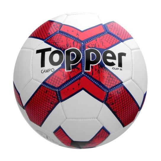 Bola Futebol Campo Topper Cup III - Branco+Vermelho 08636e66f7b36