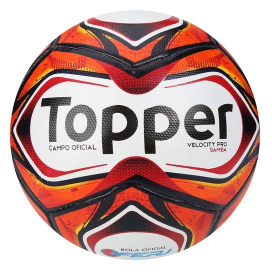 Bola Futebol Campo Topper Samba Pro - Branco e Vermelho - Compre ... 8829ae1b4db97