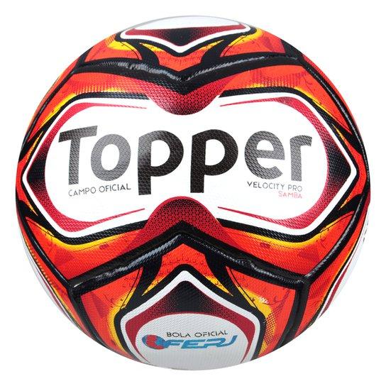 1c6d0106e1f6c Bola de Futebol Campo Samba Pro Topper - Branco e Vermelho - Compre ...