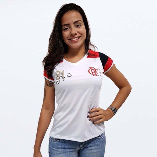 8f083ff26c Camisa Flamengo Feminina Retro Zico - Branco+Vermelho